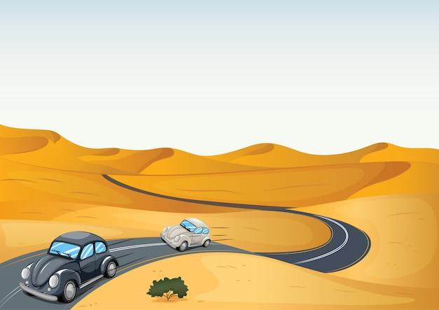 Carros em um deserto