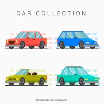 Carros encantadores com design plano
