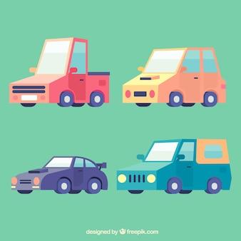 Carros engraçados com design plano