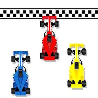 Carros esportivos de corrida f1 correndo de bólido para a linha de chegada