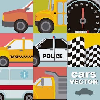 Carros fofos com estilo vintage fechem ilustração vetorial