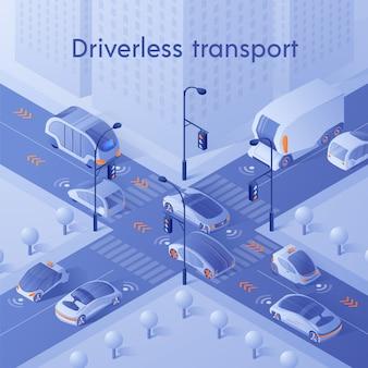 Carros inteligentes dirigindo no trânsito da cidade na encruzilhada