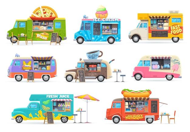 Carros isolados de food trucks, vans de desenhos animados para venda de comida de rua.
