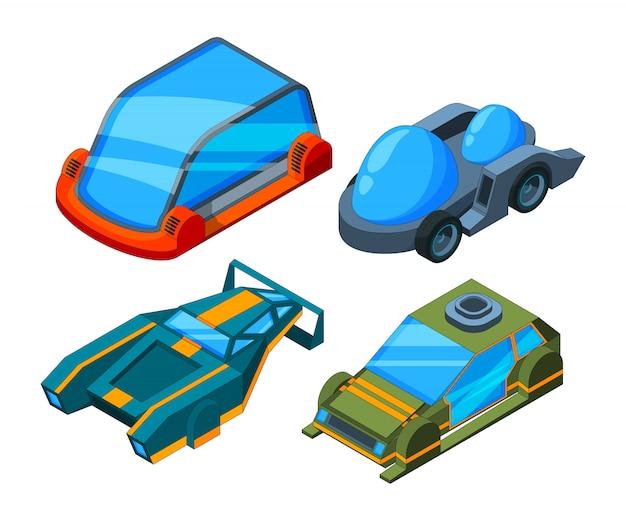 Carros isométricos futuristas, automóveis futuristas de baixo poli 3d