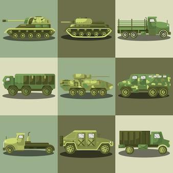 Carros militares e caminhões da máquina do exército