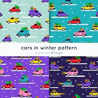 Carros na coleção de padrão de inverno