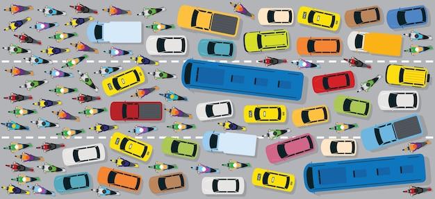Carros na estrada com engarrafamento caótico