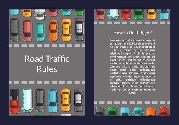 Carros na estrada em frente ao cartão de vista superior zona pedonal