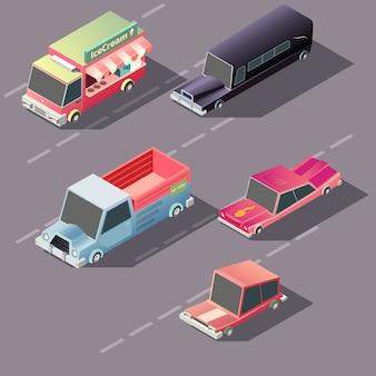 Carros retrô, movendo-se na rodovia