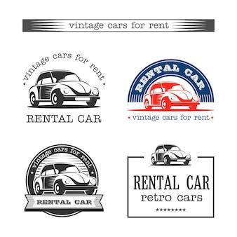 Carros retrô para alugar. conjunto de vetores de logotipos.