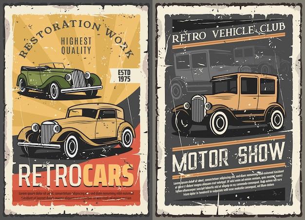 Carros retrô restauração garagem, vintage motor show