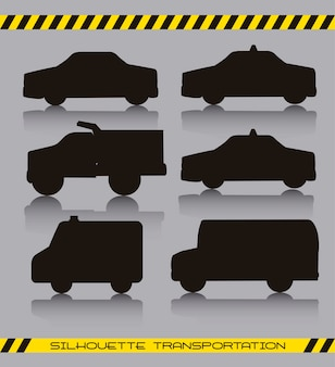Carros silhoette preto sobre ilustração vetorial de fundo cinza