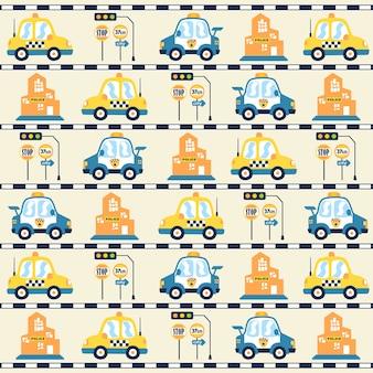 Carros, sinais de trânsito, construindo em vetor padrão
