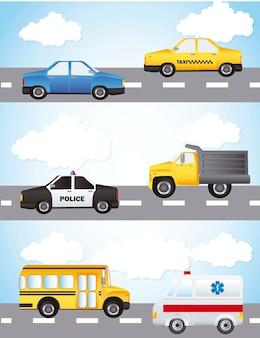 Carros sobre ilustração vetorial de rua e céu fundo