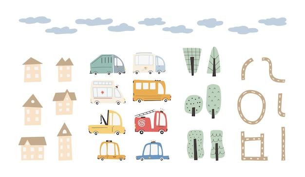 Carros urbanos infantis com casas e árvores bonitas. transporte engraçado