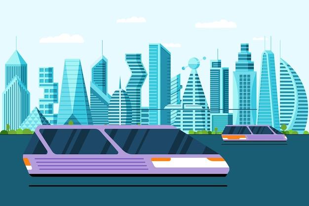 Carros voadores futuristas levitam na rua da cidade futura metrópole. ilustração em vetor conceito transporte aéreo. automóvel a jato autônomo e não tripulado moderno