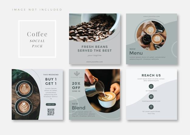 Carrosséis de modelos de mídia social quadrados simples e limpos de cafeteria.
