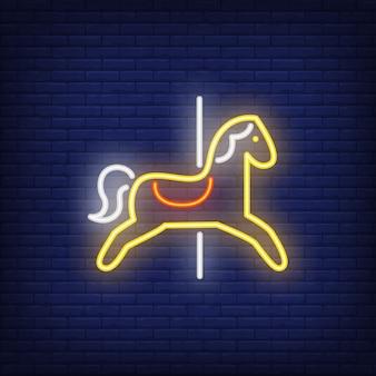 Carrossel, cavalo, néon, sinal