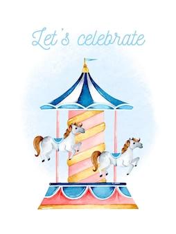 Carrossel de crianças com convite de cartão em aquarela de cavalos