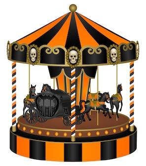 Carrossel de halloween com cavalos pretos e carruagem velha