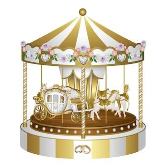 Carrossel dourado e branco com flores e anéis para casamento