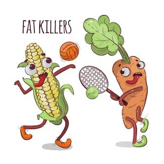 Carrot corn sport desenho animado legumes saúde nutrição desenhado à mão