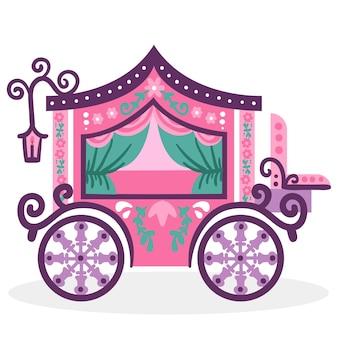 Carruagem de cinderela colorido conto de fadas
