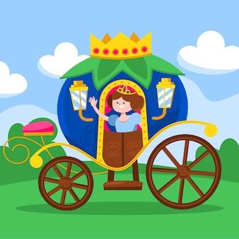 Carruagem de conto de fadas com princesa