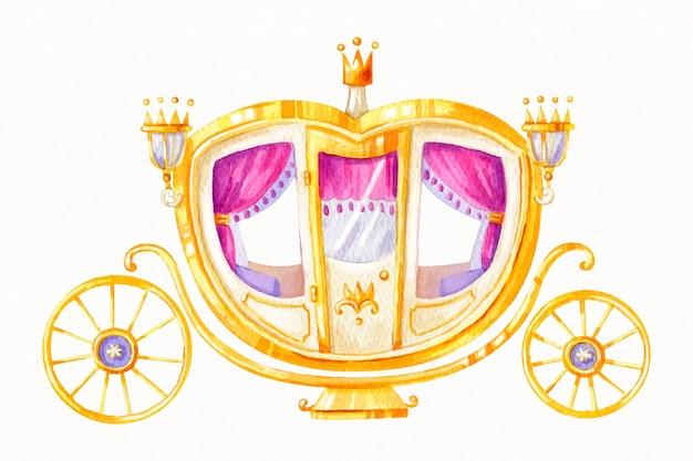 Carruagem de conto de fadas em ouro e coroa