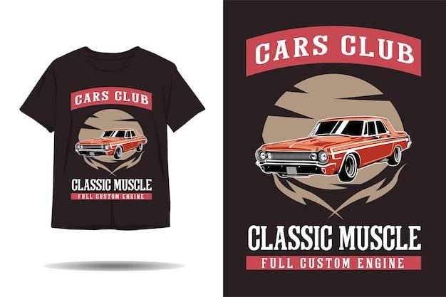 Cars club classic muscle full custom engine illustration design de camiseta