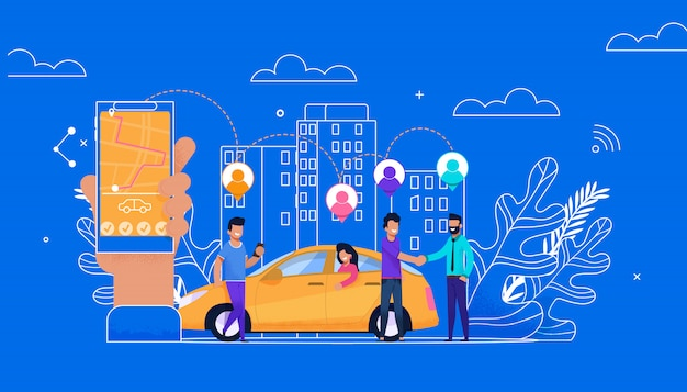 Carsharing on-line simple flat. personagem de passageiros