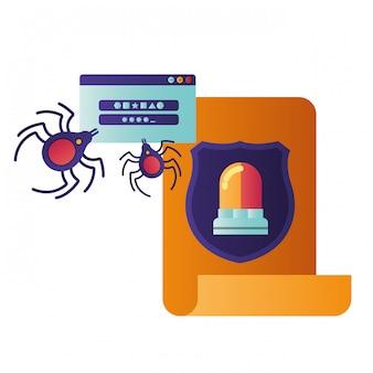 Carta aberta com ícones isolados de aranha e sirene