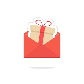 Carta aberta vermelha com cartão de caixa de presente