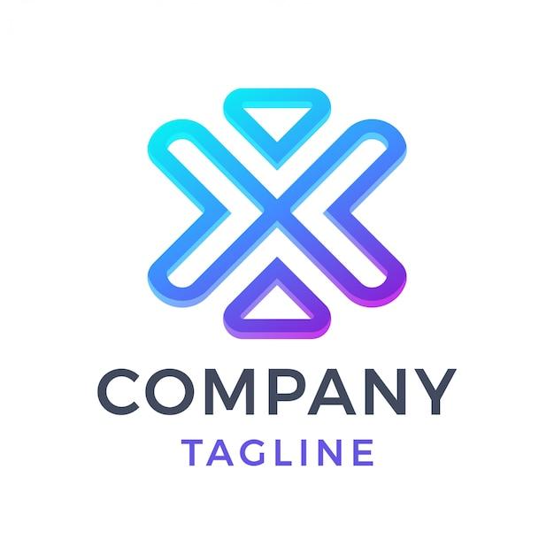 Carta abstrata x logotipo gradiente