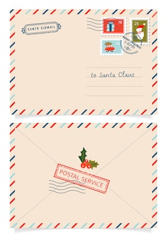Carta ao papai noel com selos e marcas de postagem