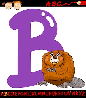 Carta b para a ilustração dos desenhos animados castor