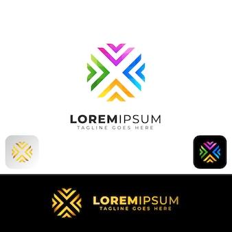 Carta colorida abstrata x design de logotipo