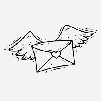 Carta com asas e coração.