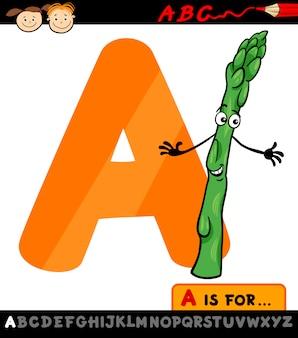 Carta com ilustração de desenhos animados de aspargos