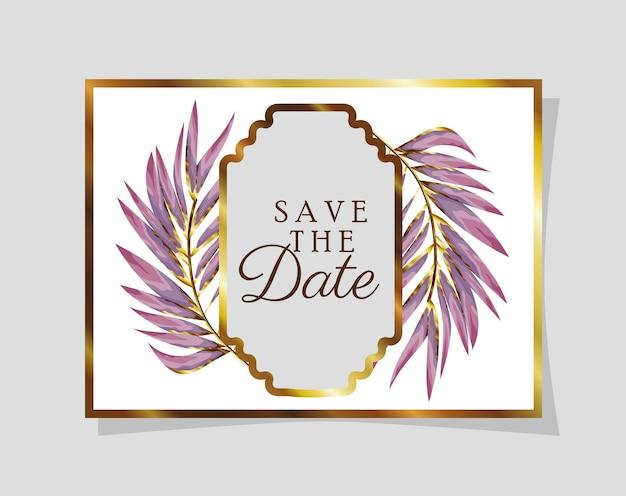 Carta convite com decoração de folhas roxas