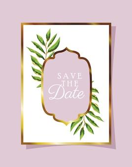 Carta convite com decoração de folhas verdes em um fundo rosa