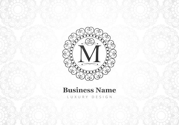 Carta criativa de luxo premium m logotipo para empresa