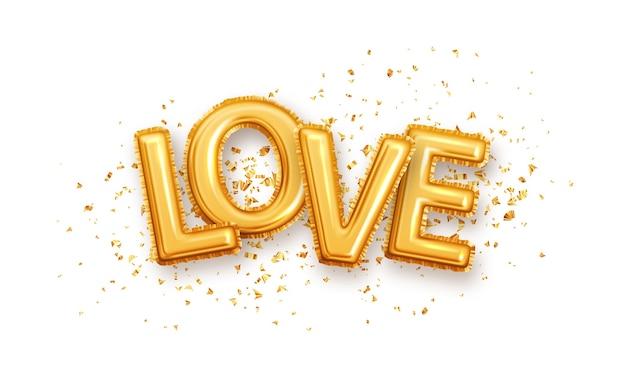 Carta de amor brilhante de balões metálicos brilhantes ouro. balões de personagens dourados no brilho dourado