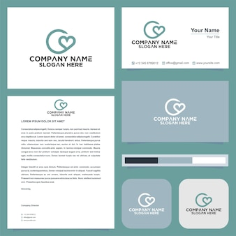 Carta de amor c logotipo e cartão de visita