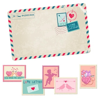 Carta de amor cartão postal vintage