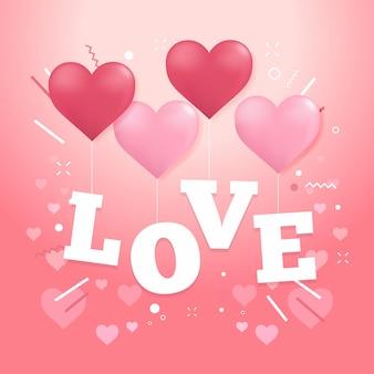 Carta de amor com balões de coração.