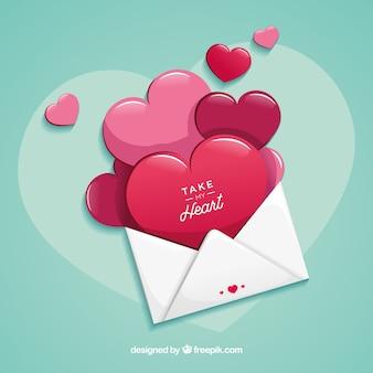 Carta de amor com design plano