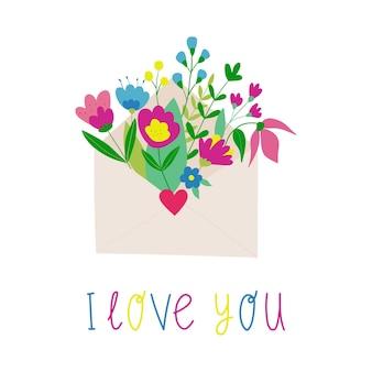 Carta de amor com um buquê de flores, eu te amo. ilustração em vetor plana
