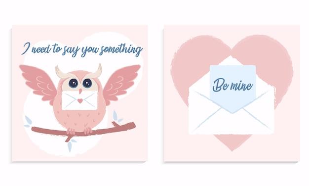 Carta de amor com uma coruja rosa fofa
