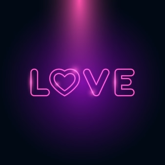Carta de amor coração néon brilho no escuro